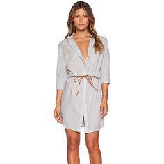 Maison Scotch Belted Shirt Dress Dresses ($88) ❤ liked on Polyvore featuring dresses, maison scotch, shirt dress, button dress, shirt-dress and tie waist dress