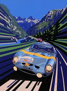Lucien Bianchi (Ferrari 250 GTO) winner of the Tour de France illustration by Tim Layzell – Atomic Samba. Auto Poster, Car Posters, Vw Vintage, Vintage Race Car, Auto Illustration, Ferrari 250 Gto, Ferrari 2017, Up Auto, Porsche Classic