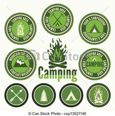 EPS Vector of Set of retro camping badges and labels csp13521140 ...