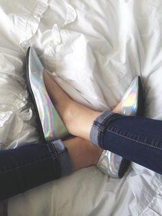 Hologram ballet flats