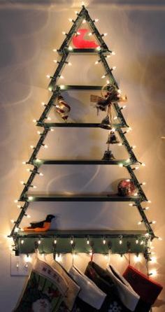 Thanks to Ana Whites plans anyone can easily build their own Christmas Tree Shelf with Lights. Do It Yourself Home Projects submitted by fans from @anawhitediy. http://www.rustoleum.com/product-catalog/consumer-brands/stops-rust/satin-enamel-spray/