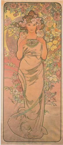 The Rose  Artist: Alphonse Mucha  Completion Date: 1898  Style: Art Nouveau (Modern)  Technique: lithography  Dimensions: 43.3 x 103.5 cm