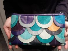 A large fish scale design in blues and greens (sold)