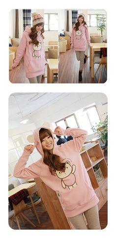 Pink Bear Hoodie with Ears! (: