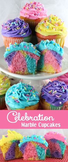 Spring Marbled Cupcakes