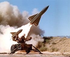 MIM-23 Hawk surface-to-air missile    A Hawk anti-aircraft battery includes six missile launchers, several RADARs, control systems, power generators and more. The Hawk missile was enhanced repeatedly during four decades of production.