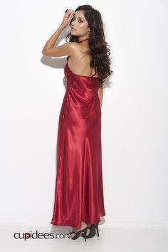 Elegant Satin Halter Neck Gown - Cupidees.com