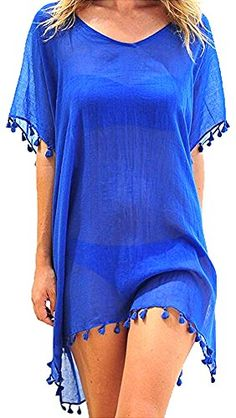 Voqeen Damen Strandkleid Kaftan Quaste Sommerkleid Bikini Cover Up Sommer Bademode Longshirt Tunika Sommer Strandponcho Strand Bikini Cover Up, Swimsuit Cover Ups, Swim Cover, Beachwear For Women, Women Swimsuits, Looks Plus Size, Mini Shirt Dress, Beach Dresses, Bathing Suits