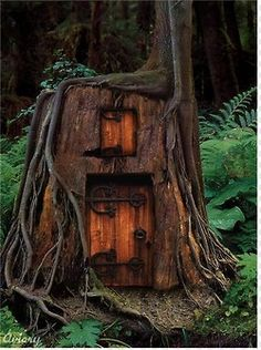 Tree stump turned Fairy House in Humboldt County, CA. Cool Tree Houses, Fairy Houses, Play Houses, Dog Houses, Magical Tree, Magical Forest, Forest Elf, Forest Fairy, Tree Forest