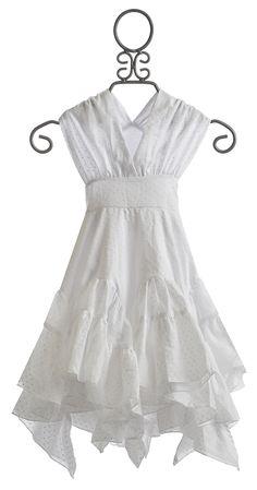 Pixie Girl White Special Occasion Dress Asymmetrical Handkerchief Hankie Hem - Not a fan of the bodice.