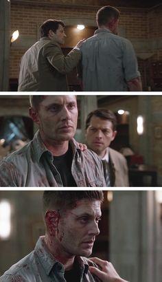 [gifset] The Prisoner <-- Dean, that is not the look you have when Cas grabs your left shoulder! Jensen Ackles, Jensen And Misha, Supernatural Season 10, Supernatural Fandom, Winchester Boys, Winchester Brothers, Misha Collins, Destiel, Best Tv Shows