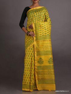 Radhika Alluring Yellow And Green Exclusive #BaghHandPrintSaree