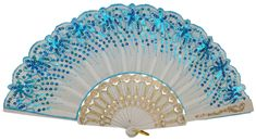 Folding Silk Hand Fan Sequin Embroidery Pattern 9   Aqua Blue with White Frame