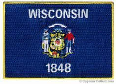 WISCONSIN STATE Flag PATCH iron-on embroidered by SouvenirPatch