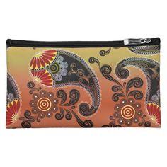 Golden Orange Paisley Pattern Cosmetics Bag