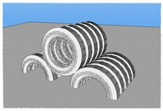 Tire Hurdle. This playground element allows for crawling through tunnels and climbing over hurdles. Design by Playground Ideas. Create a free user account at www.playgroundideas.org to view full element description and step-by-step DIY instructions.