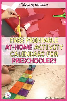 Fun at-home activities for preschool and pre-k students. Hands-on and easy to prep. Perfect to keep your little ones learning through play! Gross Motor Activities, Home Activities, Hands On Activities, Free Printable Calendar, Free Printables, Teaching Vowels, Preschool Phonics, Home Connections, Time Management Skills