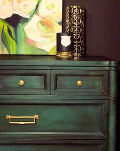 Annie Sloan Chalk Paint, Olive, Aubusson Blue, and Amsterdam Green with Black Wax and brass Hardware Decor, Painted Furniture, Green Dresser, Green Furniture, Furniture Inspiration, Furniture Makeover, Diy Farmhouse Decor, Green Painted Furniture, Annie Sloan Painted Furniture