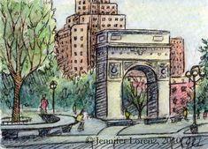 Mini Art Print: Washington Square Park NYC | Etsy Washington Square Park Nyc, What To Draw, Watercolor Texture, Pencil Illustration, Gouache, Colored Pencils, Paper Texture, Eye Candy, Art Prints