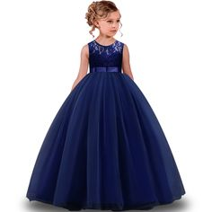 Kids Girls elegant Wedding Flower Girl Dress Princess Party Pageant Formal long Dress Sleeveless Lace Tulle Dress y Pretty Dresses For Kids, African Dresses For Kids, Wedding Dresses For Kids, Girls Pageant Dresses, Girls Formal Dresses, Toddler Girl Dresses, Little Girl Dresses, Princess Flower Girl Dresses, Wedding Flower Girl Dresses