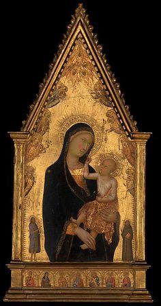 Lippo Memmi - Madonna con Bambino e Santi e Angeli - ca. 1350 - Tempera su tavola, fondo oro - The Metropolitan Museum of Art, New York