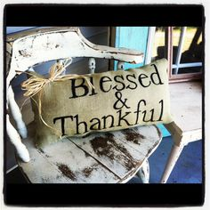Blessed & Thankful burlap fall pillow WITH or WITHOUT raffia bow with word CUSTOMIZATION available