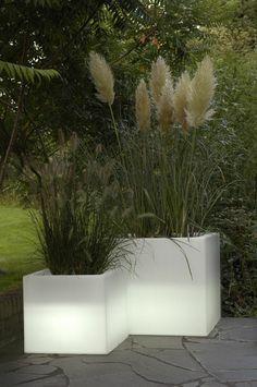 gartenbeleuchtung ideen leuchtende pflanenbehälter gartenpflanzen