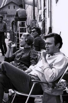 Julie Andrews and Christopher Plummer on the set of The Sound of Music