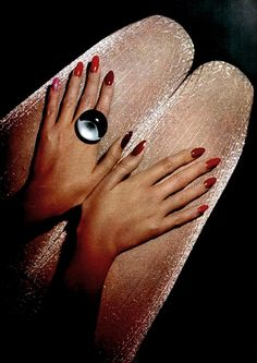 shimmery stockings, gorgeous ring & always glam red manicure