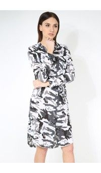 Aimee Camouflage Printed Collared Belted Shirt Dress £11.99
