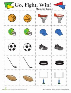 sports matching game matching games worksheets and game. Black Bedroom Furniture Sets. Home Design Ideas