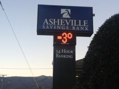 Minus three at the Black Mt NC branch of Asheville Savings 7:37 1/7/2014