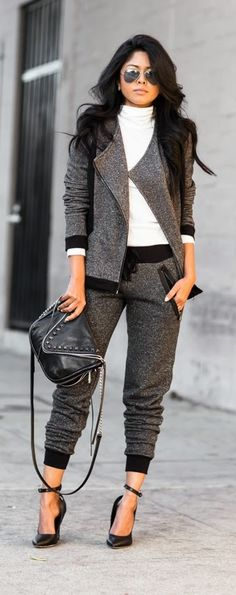 A sweat suit that's also a suit-suit? Yes, please! Black and gray sweat suit, zippered jacket, style inspiration.