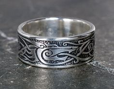Viking Wolf Ring Sterling Silver Viking Ring by ArgentumArcana