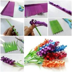 DIY Beautiful Curly Paper Flowers actvitiy- good for people at higher levels of dementia. Could use a straw or ones fingers to roll the paper. Pre-cut the paper for the person.