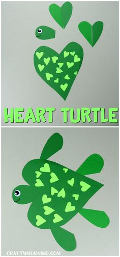 Make a heart shaped turtle craft with your kids for Valentine's Day! Fun art project (heart shaped animal craft) #artprojects
