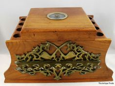 Superb Vintage  USA made  large wooden Humidor  Tobacco box  15 smoking pipe holder rack    £150.00