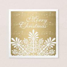 White & Gold Christmas Snowflake Napkin