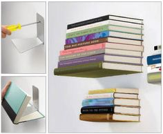 Invisible Book Shelf. These can be purchased or you can make your own with L-hooks. - Oh man are these cool!!  Want to do this in every room now!!