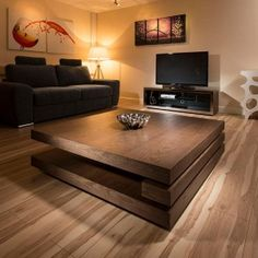 Coffee table design above is an extremely remarkable and also modern layouts. Hope you get the idea or ideas for your contemporary coffee table. Coffee Table Design, Modern Square Coffee Table, Dark Wood Coffee Table, Low Coffee Table, Unique Coffee Table, Contemporary Coffee Table, Man Cave Coffee Table, Creative Coffee, Brown Coffee