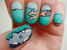 The Nail Artiste: Nail Art: Sherman's Lagoon for Shark Week
