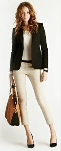 Black blazer with beige cropped pants