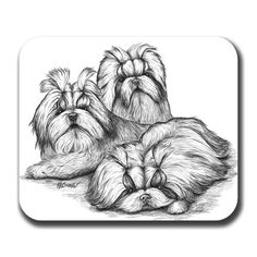 Shih Tzu Trio Dog Art Mousepad