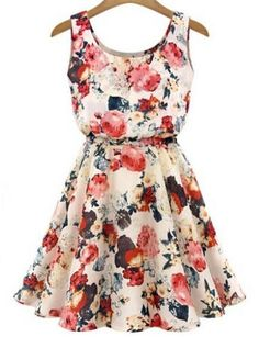 Fashion floral print sleeveless summer casual dress