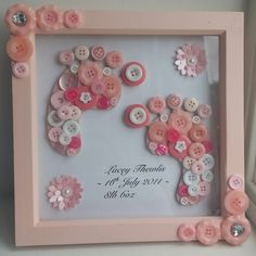 3D baby girl footprint wall art, button art, baby shower gift, baby naming gift, £25.00