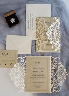 FOLDER ONLY. Scrolls and Lace Pattern Quinceanera Invitations. Laser Cut Invitation, Letterpress Wedding Invitations, Destination Wedding Invitations, Vintage Wedding Invitations, Rustic Invitations, Printable Wedding Invitations, Wedding Invitation Design, Wedding Stationery, Invitation Wording