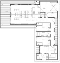 T shaped house floor plans 6 floor plan detail l shaped house floor House Plans 2 Story, Ranch House Plans, Modern House Plans, Story House, Small House Plans, Modern House Design, House Floor Plans, The Plan, How To Plan
