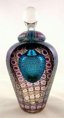 teal and purple vases | ... Fused etc... / Tom Philabaum's Teal with Purple Perfume Bottle | eBay
