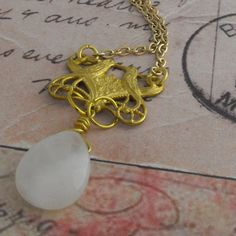 Gold Lovebird Necklace with Rose Quartz by vintagejewellerybox, £10.00
