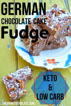 German Chocolate Cake - This delicious recipe is a Keto & Low Carb Fudge cake. (also a great lchf fat bomb! Paleo Dessert, Ketogenic Desserts, Keto Snacks, Dessert Recipes, Ketogenic Diet, Keto Foods, Paleo Diet, Ketogenic Lifestyle, Low Carb Candy